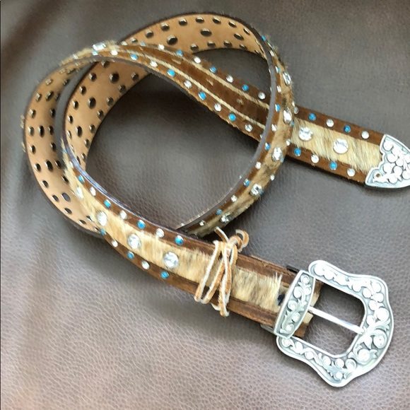 Accessories - Leather pony hair silver buckle belt